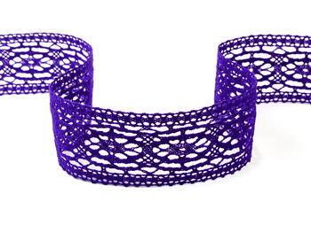 Paličkovaná vsadka 75038 bavlněná, šířka52mm, purpurová/fialová - 2