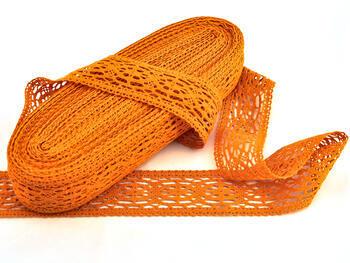 Paličkovaná vsadka 75038 bavlněná, šířka52mm, sytě oranžová - 2