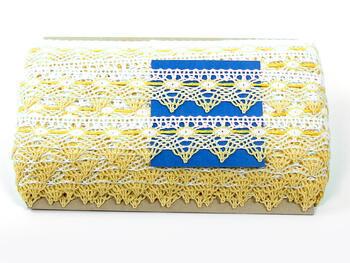 Cotton bobbin lace 75041, width40mm, white/yellow/light yellow - 2