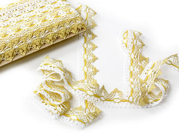 Bobbin lace No. 75041 white/yellow/light yellow | 30 m - 2