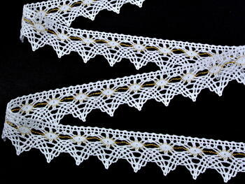 Bobbin lace No. 75041 white/gold | 30 m - 2