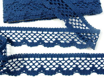 Cotton bobbin lace 75067, width 47 mm, ocean blue - 2