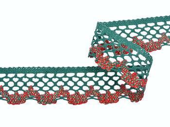 Cotton bobbin lace 75067, width 47 mm, dark green/lig.red/lig.green/Lurex gold - 2