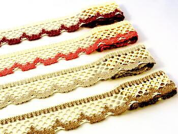Cotton bobbin lace 75067, width 47 mm, ecru/brown - 2