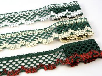 Paličkovaná krajka 75067 bavlněná, šířka47mm, tm.zelená/sv.červená - 2
