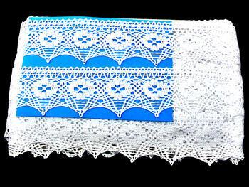 Paličkovaná krajka 75068 bavlněná, šířka52mm, bílá - 2