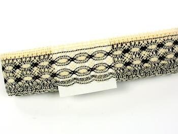 Cotton bobbin lace 75076, width53mm, ecru/dark brown - 2