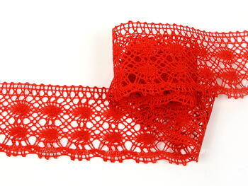 Cotton bobbin lace 75076, width 53 mm, red - 2