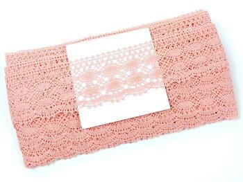 Cotton bobbin lace 75076, width 53 mm, pink - 2