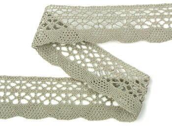 Cotton bobbin lace 75077, width 32 mm, dark linen gray - 2