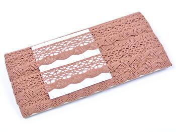 Cotton bobbin lace 75077, width 32 mm, terracotta - 2