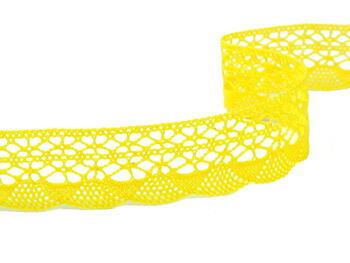 Paličkovaná krajka 75077 bavlněná, šířka32mm, světle žlutá - 2