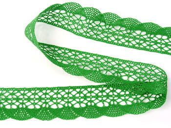 Paličkovaná krajka 75077 bavlněná, šířka32mm, trávová zelená - 2