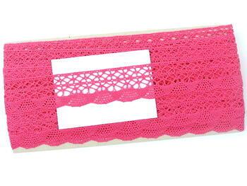 Cotton bobbin lace 75077, width 32 mm, fuchsia - 2