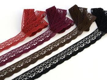 Cotton bobbin lace 75077, width 32 mm, cranberry - 2