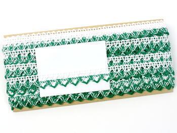 Paličkovaná krajka 75087 bavlněná, šířka19mm, bílá/sv.zelená - 2