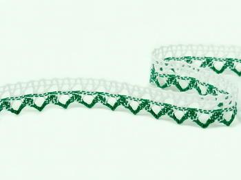 Paličkovaná krajka vzor 75087 bílá/světle zelená | 30 m - 2
