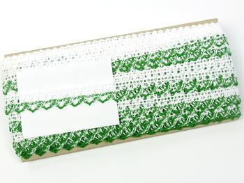 Paličkovaná krajka 75087 bavlněná, šířka19mm, bílá/trávová zelená - 2
