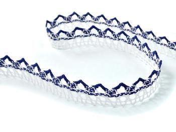 Paličkovaná krajka vzor 75087 bílá/modrá | 30 m - 2