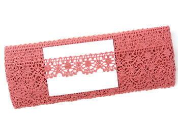 Cotton bobbin lace 75088, width 27 mm, rose - 2