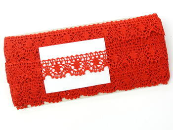 Paličkovaná krajka 75088 bavlněná, šířka 27 mm, červená - 2
