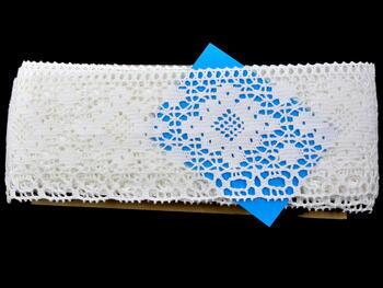 Cotton bobbin lace 75089, width 90 mm, white - 2