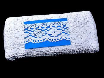 Cotton bobbin lace 75095, width 60 mm, white - 2