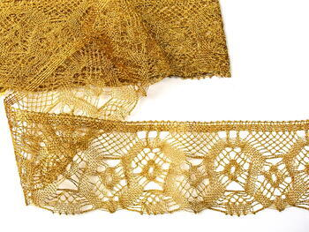 Metalic bobbin lace 75096, width 68 mm, Lurex gold - 2