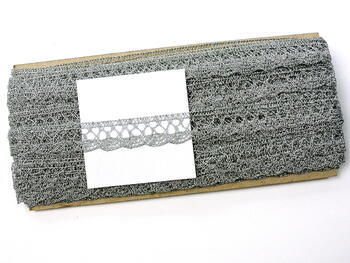 Paličkovaná krajka 75099 metalická, šířka18 mm, Lurex stříbrný - 2