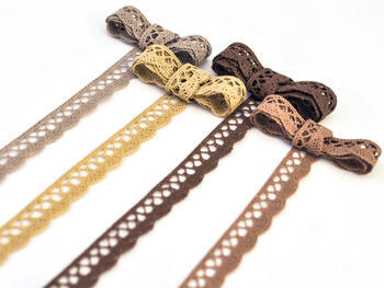 Cotton bobbin lace 75099, width 18 mm, khaki - 2