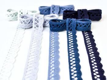 Paličkovaná krajka 75099 bavlněná, šířka18 mm, blank.modrá - 2