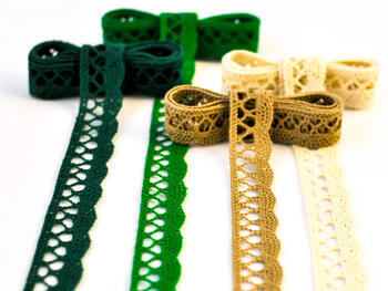 Cotton bobbin lace 75099, width 18 mm, dark green - 2