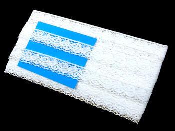 Cotton bobbin lace 75091, width 20 mm, white - 2