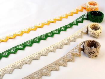 Cotton bobbin lace 75220, width 33 mm, ecru/dark yellow - 2
