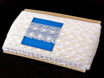 Cotton bobbin lace 75110, width 53 mm, white/ecru - 2