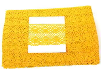 Paličkovaná krajka 75110 bavlněná, šířka53 mm, tmavě žlutá - 2