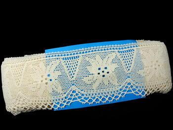 Paličkovaná krajka 75112 bavlněná, šířka80 mm, režná - 2