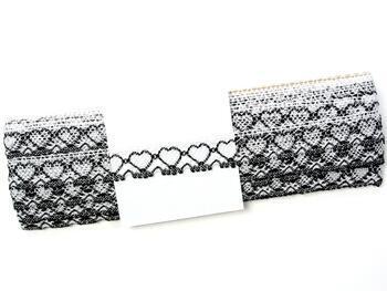 Cotton bobbin lace 75133, width 19 mm, white merc./black - 2
