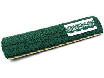 Paličkovaná krajka 75133 bavlněná, šířka19 mm, tmavě zelená - 2