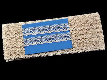 Paličkovaná krajka 75133 bavlněná, šířka19 mm, režná - 2