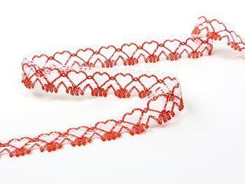 Paličkovaná krajka 75133 bavlněná, šířka19 mm, bílá/červená - 2
