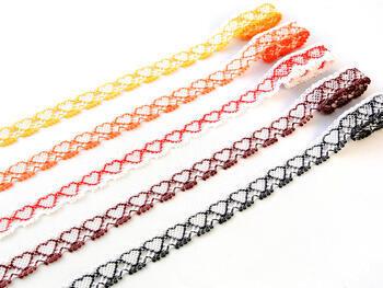 Paličkovaná krajka vzor 75133 bílá/sytě oranžová |  30 m - 2