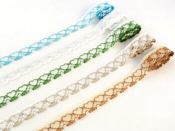 Bobbin lace No. 75133 white/grass green | 30 m - 2