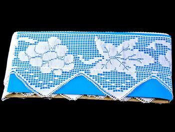 Cotton bobbin lace 75136, width97 mm, white - 2