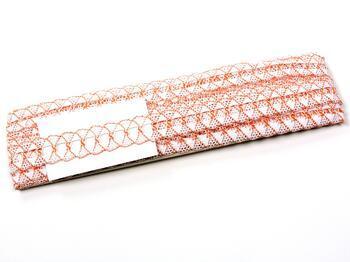 Paličkovaná krajka 75169 bavlněná, šířka 20 mm, bílá/sytě oranžová - 2