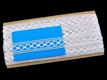 Cotton bobbin lace insert 75181, width25mm, white - 2