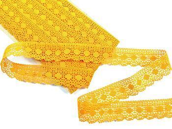 Cotton bobbin lace 75184, width 25 mm, dark yellow - 2