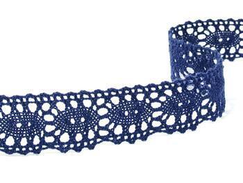 Paličkovaná krajka 75187 bavlněná, šířka32mm, modrá - 2