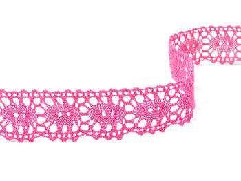 Cotton bobbin lace 75187, width 32 mm, fuchsia - 2