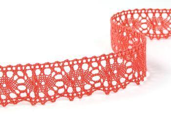 Cotton bobbin lace 75187, width 32 mm, coral - 2